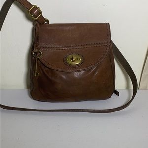 Fossil long live vintage brown leather crossbody